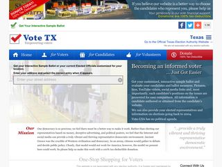 Screenshot of Vote-tx.org main page