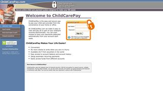 Screenshot of Childcarepay.com main page