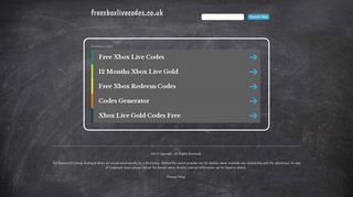 Screenshot of Freexboxlivecodes.co.uk main page