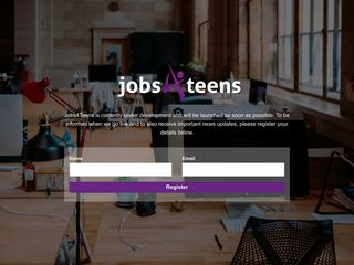 Screenshot of Jobs4teens.co.uk main page