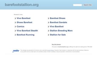 Screenshot of Barefootstallion.org main page