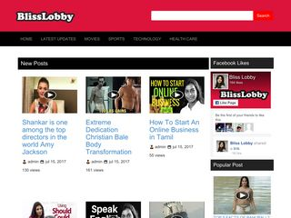 Screenshot of Blisslobby.com main page