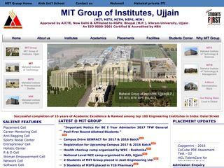 Screenshot of Mitujjain.ac.in main page