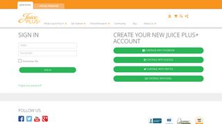 Screenshot of Myjuiceplusaccount.com main page
