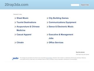 Screenshot of 20rap3da.com main page