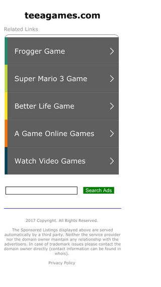 Mobile screenshot of Teeagames.com